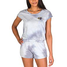 Officially Licensed NFL Marina Ladies Knit SS Romper - Ravens