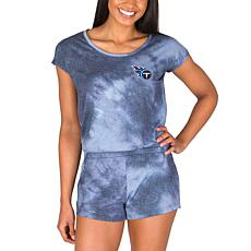 Officially Licensed NFL Marina Ladies Knit SS Romper - Titans