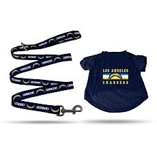 Officially Licensed NFL Medium Pet T-Shirt with 4' Leash - Chargers