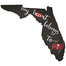 """Officially Licensed NFL """"My Heart Belongs to"""" Distressed Sign"""