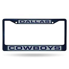 Officially Licensed NFL Navy Laser-Cut Chrome License Plate Frame -...
