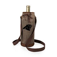 Officially Licensed NFL Picnic Time Waxed Canvas Wine Tote Panthers