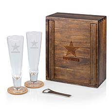 Officially Licensed NFL Pilsner Glass Set with Wood Box