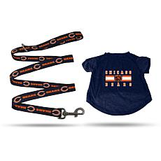 Officially Licensed NFL Small Pet T-Shirt with 4' Leash - Bears
