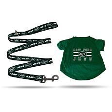 Officially Licensed NFL Small Pet T-Shirt with 4' Leash - Jets