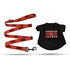 Officially Licensed NFL Small Pet T-Shirt with 4' Leash - Browns