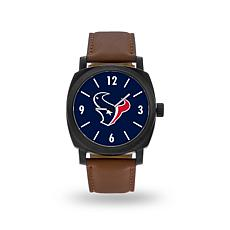 "Officially Licensed NFL Sparo ""Knight"" Faux Leather Watch - Texans"