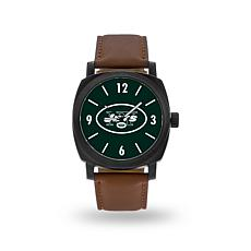 """Officially Licensed NFL Sparo""""Knight""""Faux LeatherWatch - Jets"""