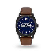 """Officially Licensed NFL Sparo""""Knight""""Faux LeatherWatch - Seahawks"""