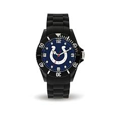 Officially Licensed NFL Spirit Black Rubber Sports Watch - Colts