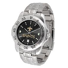 Officially Licensed NFL Sports Steel Watch - New Orleans Saints