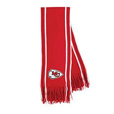 Officially Licensed NFL Team-Color Stripe Fringe Scarf - Chiefs