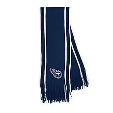 Officially Licensed NFL Team-Color Stripe Fringe Scarf - Titans