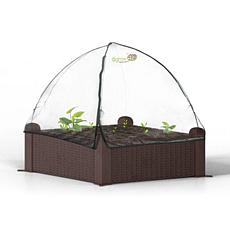 "Ogrow 39"" Square Raised Garden Bed Wicker Design with Canopy Cover"