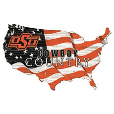 Oklahoma State University USA Shape Flag Cutout