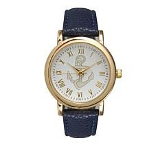Olivia Pratt Goldtone Anchor Dial Navy Faux Leather Strap Watch