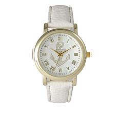 Olivia Pratt Goldtone Anchor Dial White Faux Leather Strap Watch