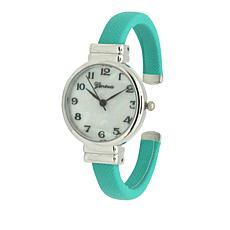 Olivia Pratt Mother-of-Pearl Dial Mint Bangle Bracelet Watch