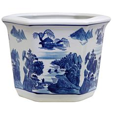 "Oriental Furniture 10"" Landscape Porcelain Flower Pot"