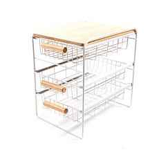 Origami 3 Drawer Countertop Organizer With Wooden Shelf