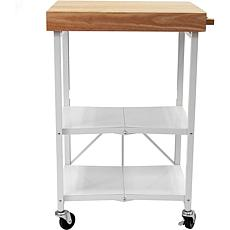 Origami Foldable Rolling 3-Tier Kitchen Island Cart with Wood Top