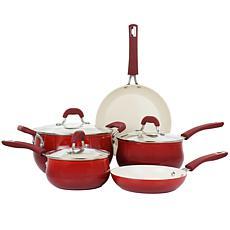 Oster Corbett 8-Pc Nonstick Aluminum Cookware Set Red