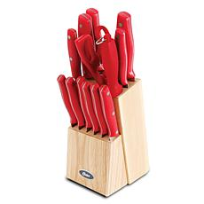 Oster Granger 14-Piece Stainless Steel Blade Cutlery Set in Red wit...