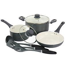 Oster Ridge Valley 8-Pc Aluminum Nonstick Cookware Set Grey