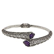 Ottoman Couture Sterling Silver Gemstone Filigree Bypass Bracelet