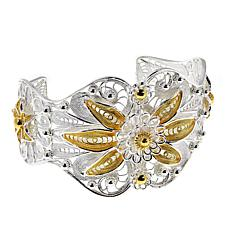 Ottoman Couture Sterling Silver Two-Tone Filigree Floral Cuff Bracelet