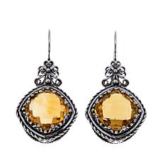 Ottoman Silver 10.4ctw Cushion-Cut Citrine Earrings