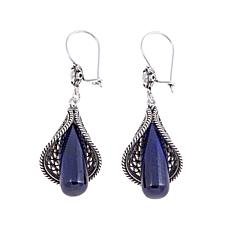 Ottoman Silver Blue Corundum Floral Drop Earrings