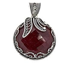 Ottoman Silver Bold Gemstone Floral Filigree Pendant