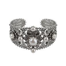 Ottoman Silver Cultured Freshwater Pearl Filigree Cuff