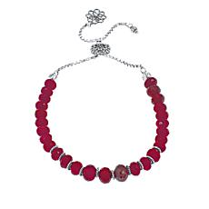 Ottoman Silver Faceted Red Cordundum Bead Adjustable Bracelet