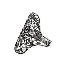 Ottoman Silver Filigree Elongated Ring