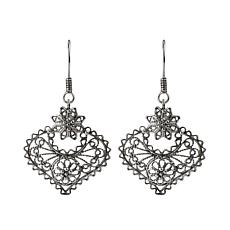 Ottoman Silver Filigree Heart Drop Earrings