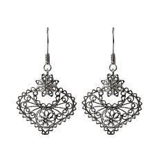 Ottoman Silver Filigree Heart Drop Earrings
