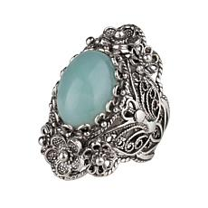 Ottoman Silver Gemstone Filigree Floral Ring