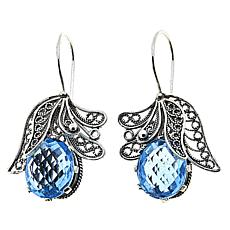 Ottoman Silver Jewelry 12ctw Blue Topaz Blossom Drop Earrings