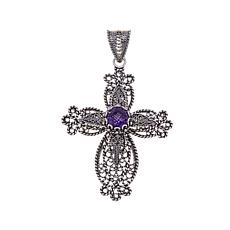 Ottoman Silver Jewelry 1.65ct Amethyst Cross Pendant