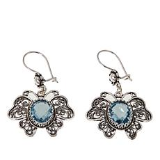 Ottoman Silver Jewelry 8ctw Blue Topaz Filigree Butterfly Earrings