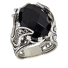 Ottoman Silver Jewelry Black Spinel Floral Ring