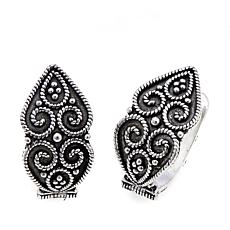 Ottoman Silver Jewelry Floral Milgrain Hoop Earrings