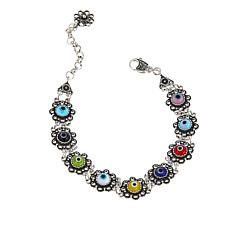"Ottoman Silver Jewelry Multicolor Glass ""Evil Eye"" Bracelet"