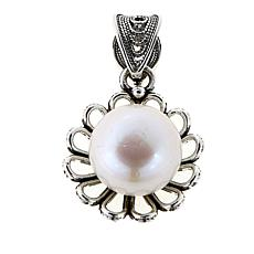 Ottoman Silver Jewelry White Cultured Pearl Flower Pendant