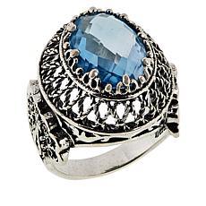 Ottoman Silver Oval Gemstone Filigree Ring
