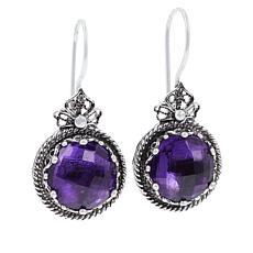 Ottoman Silver Sterling Silver Amethyst Filigree Frame Drop Earrings
