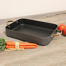 Ouro Black Hard Anodized Single Roaster Pan with Rose Gold Handles
