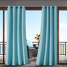 "Pacifica Solid 3M Scotchgard Single Outdoor Window Panel - Aqua/54""..."
